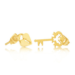 Wholesale Nickel Free Stud - Wholesale 10Pcs lot 2017 Fashion Jewelry New Design 18K Gold Heart Lock & Key Stud Earrings For Women Nickel Free And Anti-allergic