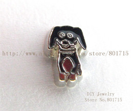 Wholesale Hot Sale Dog Charms - Hot sale New arrival animal lovely black dog FC1500 floating locket charm 10pcs for living memory locket as best gift