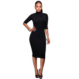 Wholesale Turtle Neck Backless Dress - Sexy Dress For Women Office Dresses Large Size Dress With Half Sleeve Backless