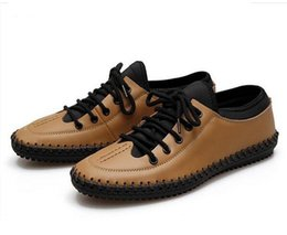 Wholesale Thin Men Dress Shoes - Men Spring&Autumn New Casual Genuine Leather Flats Handmade Thin Shoes Driving Shoes With Lace-Up Solid 4 Colors Size 38--44