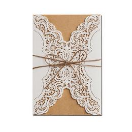 Wholesale Lace Vintage Invitations - Wholesale- 50pcs lot Cheap White Lace Flower Laser Cut Wedding Invitations Elegant Birthday Party Vintage Cards convite de casamento 2016