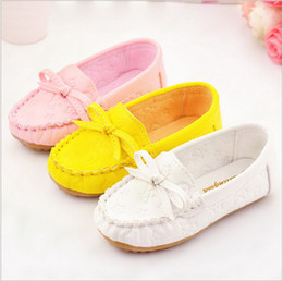 Wholesale kids loafers - Hot sale 2016 spring autumn new fashion bow loafers flats pu doug princess shoes for girls kids soft cow muscle 3 colors 5.5-12