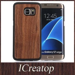 Wholesale Galaxy Note Wood - Natural Handmade wooden with PC black mobile phone cases for Samsung Galaxy s7 s7 edge Note 5 real Solid wood woodn caes cover