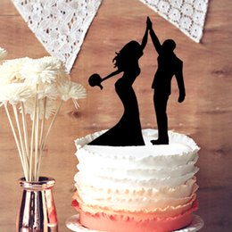 Wholesale Happy Bride - Romantic Bride and Groom High Five Silhouette Wedding Cake Toppers, Happy Party Couple Wedding Cake Decoration