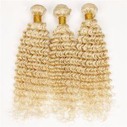 Wholesale Platinum Blonde Hair Extensions Weft - Blonde Peruvian Hair Deep Wave 3 Bundle Deals Lot Hot Sale #613 Blonde Human Hair Blonde Curly Hair Extensions Platinum Blonde Deep Curly