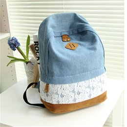Wholesale Travel Backpacks Zipper For Women - 2017 Women's Denim Backpacks School Bags For Women Teenager Girls Shoulder Bag Large Travel Rucksack Bolsas Mochilas With Lace