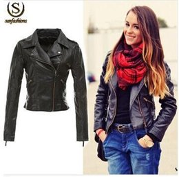 Wholesale Woman S Motorcycle Jacket - Spring Women's Fashion Motorcycle PU Leather Jacket for Ladies Rivets PlusSize Female Zipper Motorcycle Jacket&coat Bomber Mujer