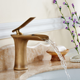 Wholesale Bathroom Faucet Styles - Free shipping Copper basin faucet Kitchen & bathroom faucet Single hole of cold faucet Waterfall tap Worlde style
