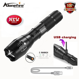 Wholesale Waterproof Usb Drive - AloneFire G700-U XM-L T6 Zoomable CREE LED Flashlight Waterproof usb Rechargeable Torch light for 18650 Rechargeable Battery or AAA