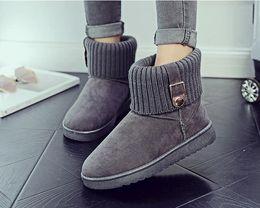 Wholesale Fur Snow Footwear - Women Round Toe Ankle Boots Woman Warm Fur Winter Snow Boots New Fashion Buckle Style Footwear Low Heel Shoes
