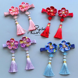 Wholesale Plastic Cherry Blossoms - 6 color New year Retro style baby girl barrettes Handmade cherry blossoms Children Headwear Kids Hairpin Girl Baby Hair Accessory with bells