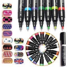 Wholesale Drawing Dotting Painting Pen - 16 Colors Nail Art Pen 3D DIY Nail Art Decoration Polish Painting Dot Drawing UV Gel Design Beauty Nail Art Tools