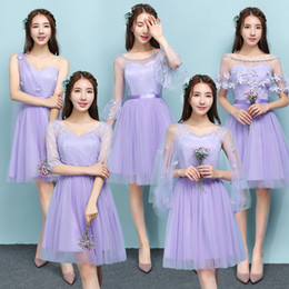 Wholesale One Dress Different Style Bridesmaid - Free Shipping Women's A-line Short Satin Tulle One Shoulder Cheap Lavender Prom Beach Bridesmaid Dresses Different Styles under 50