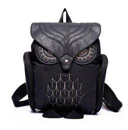 Wholesale Backpack Cooler Pocket - Fashion Women Backpack Newest Stylish Cool Black PU Leather Owl Backpack Female Hot Sale Women shoulder bag school bags