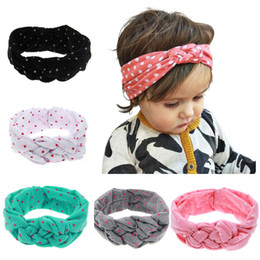 Wholesale Hair Elasticity - Handmade Baby Printing Dot Knot Hair Band Baby Girls Headband Ribbon Elasticity Ferret Hair Accessories Cross Hairband Toddler Headwear