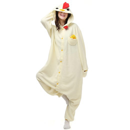 Wholesale Chicken Costume White - Japen Kigurumi Pajamas Adult White Chicken Sleepwear Cosplay Christmas Halloween Costume Gift Present Onesies Party Jumpsuit
