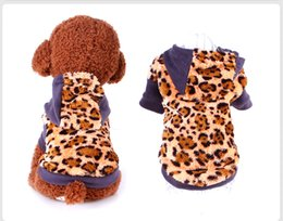 Wholesale Velvet Sweater Dress - Pet Clothes for Dog Cat Puppy Coral Velvet Hoodies Coat Fall Winter Sweatshirt Warm Sweater Leopard Soft Jumpsuit Clothes Outwear Outfit