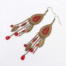 Wholesale Oval Resin Beads - New hot earrings for women bohemian oval leaves tassel earrings Retro fashion beads earrings free shipping