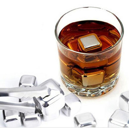 Wholesale Stainless Steel Whiskey Stones - 100pcs New Whiskey Stainless Steel Stones Drink Ice Cooler Cubes Cool Glacier Rock Beer Freezer Barware Christmas Gift ZA0897