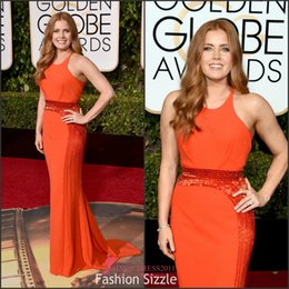 Wholesale Globe Making - Amy Adams Unique Orange Sequin Chiffon Sheath Prom Evening Dresses Golden Globes 2016 Mermaid Jewel Open Back Beaded Party Celebrity Gowns