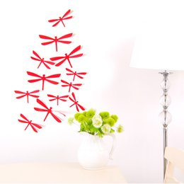 Wholesale Stereoscopic Glasses - New 3D Stereoscopic Smooth Dragonfly Wall Sticker Burst Models of High-quality 12 Loaded Living Room Bedroom Decoration Stickers PVC H-018