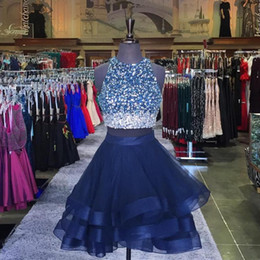 Wholesale Sexy Semi - Jewel Neck Beading Ombre Prom Dress Short Crop Top Homecoming Dresses Two 2 Pineces Short Party Gowns Semi Formal