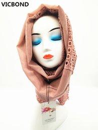 Wholesale sequin scarfs - VICBOND Hot sale pure solid colourhollow flower sequins diamonds viscose cotton scarf shawl pashmina women Muslim hijab fashion soft 10pcs l