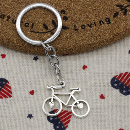 Wholesale Bicycle Jewelry Women - Men&Women Jewelry Key Chain, Fashion Diameter 30mm Key Ring Metal Key Chain Accessory,Vintage Silver bike bicycle 31*23mm Pendant