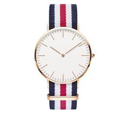 Wholesale Round Style Glasses For Men - 100pcs uxury Brand Style D&W Watches For Men Women Gold Dial Nylon Strap Military Quartz Wrist watches