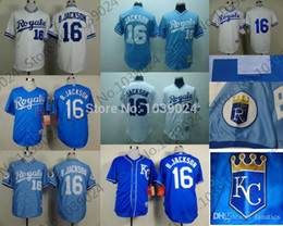 Wholesale Top Sellers Jerseys - 2015 New New 16 Bo Jackson Jersey Royals Baseball Retro 1980 B.Jackson Kansas City Royals Jersey 1989 White Light Blue Top Seller