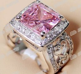 Wholesale Pink Kunzite Rings - Pink Kunzite Cubic Ring Silver Plated Women Jewelry European Fashion Style Beautiful High Quality DHL Free Shipping