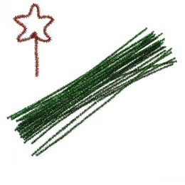 """Wholesale Diy Green Cleaning - Dorabeads Chenille Stick Pipe Cleaner Craft DIY Making Christmas Green 30cm(11 6 8""""),2 Bundles(Approx 100PCs Bundle)"""
