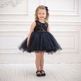 ab6e74d0f6091 2019 robes de concours de bébé noir Enfant bébé filles noir paillettes  maille robe princesse bébé