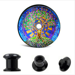Wholesale Picture Body Jewelry - Black Blue Tree picture print for screw internally Plugs for ear tunnel body jewelry piercing plugs and tunnels