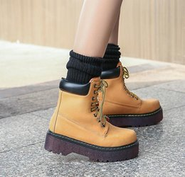 Wholesale High Sole Motorcycle Boots - Punky Style Clear Sole High Platform Lace Up Martin Boots Women Casual Style 2017 New Size 34 To 39
