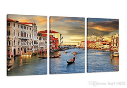 Wholesale Water Picture Frame - YIJIAHE CHS70 Canvas Painting Art 3 Pieces Water city Wall Art Pictures Print On Canvas Become Paintings To Decorate Your House Office ect.!