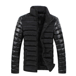 почтовый конверт Скидка Fall-2015 Winter New Style Leather Sleeve Splicing Man Winter Men Down Coat Parka Warm Down Bag-Mail Winter Jacket Men  Long