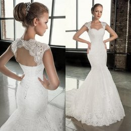 Wholesale Open Back Corset Dress - 2016 Stunning Mermaid Wedding Dresses Lace Appliques Sweetheart Neck Cap Sleeves Open Back Corset Bridal Gowns Top Quality Custom Made