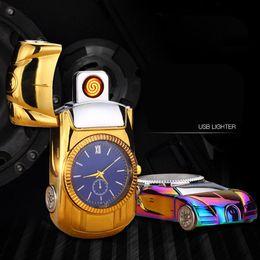 Wholesale Cigarette Lighters Wristwatches - 2017 Car Model Watch Lighter Rechargeable USB Charging Electronic Cigarette Lighter Windproof Flameless Quartz Wristwatches
