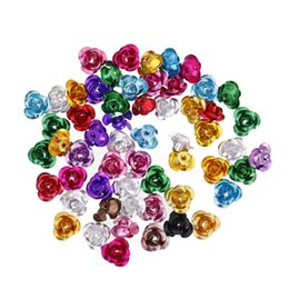 Wholesale Spacer Findings - Fashion Rose Flower Spacer Beads Jelwery Finding Fit European Charm DIY Bracelets Making
