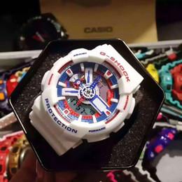 Wholesale Men S Watches G Shock - Popular Mens Summer G Sports GA110 Digital Dual Display LED Diver watch S Shock Men Quartz military Wristwatch Original Box Drop Shipping