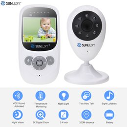 Wholesale Wireless Security Light Camera - Wholesale- SUNLUXY 2.4'' Color Video Wireless Baby Monitor Night Light Babyphone Security Camera 2 Way Talk Digital Zoom Music Temperature