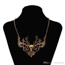 Wholesale Vintage Elk - wholesale new Fashion Jewelry Wholesale Big Brand Vintage Elk Deer Temperament Choker Statement Necklace Free Shipping
