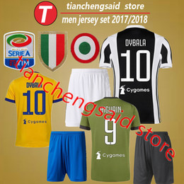 Wholesale Sports Jersey Patches - 2018 home patch Soccer Jersey sets 17 18 DYBALA Soccer Shirt Customized MARCHISIO MANDZUKIC HIGUAIN football uniform Sales men Sports kits