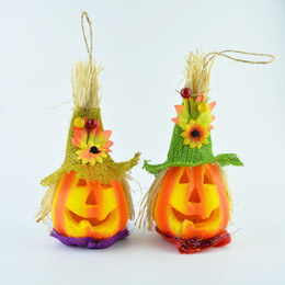 Wholesale Toy Pumpkins - Halloween Glow scarecrow pumpkin lights flash toys performance props pumpkin discos all saints decoration bar