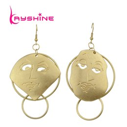 Wholesale 14k Gold Flower Earrings - Punk Rock Style Gold-Color Chain With Different Circle Geometric Face Shape Drop Earrings For Women Accessories
