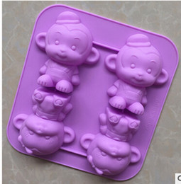 Wholesale Silicone Monkey Mould - monkey animal ice tray Cake Mold Flexible Silicone Soap Mold For Handmade Soap Candle Candy bakeware baking moulds kitchen tools ice molds