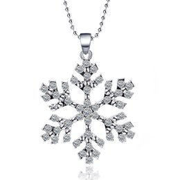 Wholesale Frozen Elsa Rhinestone Snowflake Pendant Necklace Crystal Cartoon Necklace For Children Silver Kids Movie Jewelry High Quality