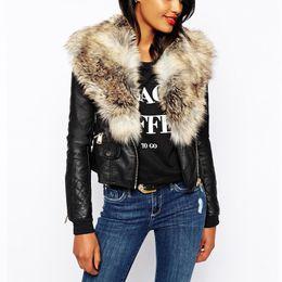 Wholesale Leather Brown Jacket Women - Wholesale- 2017 New Faux Fur Collar Mosaic PU Leather Jacket Women Zipper Short Coat Winter Warm Leather Jacket Overcoat Parka Female Q1660