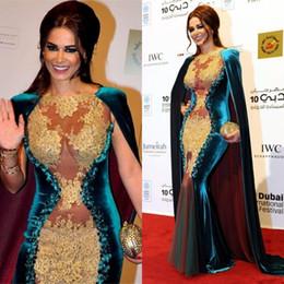 Wholesale Long Black Velvet Cape - 2016 Dubai Abaya Elegant Mermaid Evening Dresses Long Cape Lace Appliques Beads Velvet Red Carpet Celebrity Dress Evening Gowns